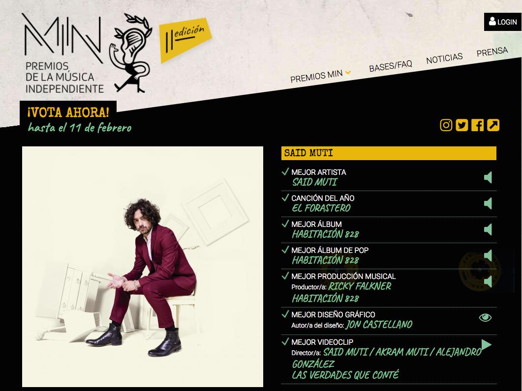 «Habitación 828» candidato a siete nominaciones en los Premio MIN de la Música Independiente